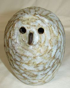 """Tommy Kakimuna pottery owl figurine - love the """"feather"""" texture on this piece!"""