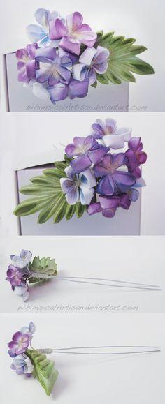 Violet bouquet kanzashi hair pin by WhimsicalArtisan on deviantART