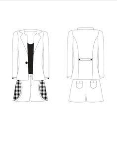 #2 - blaiser branco, botões preto -blusa básica preto - short vangue branco com recortes no bolso xadrez