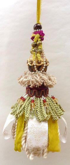 Bohemian Decorative Tassel, Cottage Chic Decor, Boho Home Decor, Gypsy Decor, Burgundy, Tan, Green. $36.00, via Etsy.