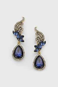 crystal tiffany earrings in sapphire