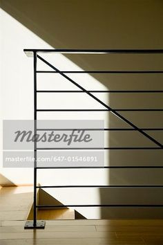 Modern Wrought Iron Bannister and Railing - Masterfile - Premium Royalty-Free, Code: Indoor Railing, Loft Railing, Front Porch Railings, Modern Stair Railing, Iron Stair Railing, Metal Railings, Modern Stairs, Balcony Railing, Railing Ideas