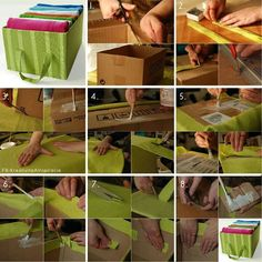 Turn a cardboard box in a pretty storage compartment with handles!I think me and aaliyah will try this we have Some felt Maybe it will work