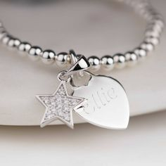 Personalised Children's Star Skinny Bead Bracelet by Nest, the perfect gift for Explore more unique gifts in our curated marketplace. Name Jewelry, Kids Jewelry, Boho Jewelry, Beach Jewelry, Jewellery, Personalized Bracelets, Bracelet Sizes, 6 Years, Hand Stamped