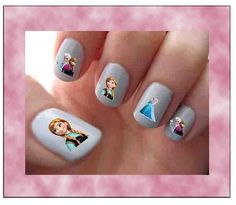 Disney Frozen Elsa and Anna Assorted Images Nail Art Water Slide Transfers Movie Cartoon Nail Stickers Wraps 40 Decals on Etsy, $3.49