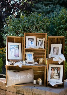 25 amazing wedding photo display ideas to love 20 rustic outdoor wedding ceremony entrance ideas with old doors on a budget Wedding Crates, Wedding Signs, Diy Wedding, Rustic Wedding, Wedding Photos, Dream Wedding, Wedding Day, Wedding Ceremony, Wedding Reception Entrance