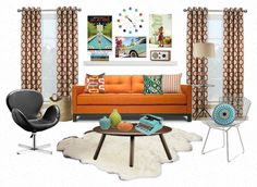 Mid-century modern decorating ideas for various rooms, via Home Sweet Apartment.  Nice basic run-down of the decor style here, at least in its modern-day application.
