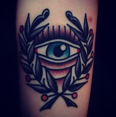 All seeing eye // Mark Cross Time Tattoos, Tattoo You, New Tattoos, Tattoos For Guys, Tatoos, Elbow Tattoos, Sleeve Tattoos, Traditonal Tattoo, All Seeing Eye Tattoo