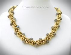 Free instructions for this fabulous labradorite and gold kumihimo necklace at Prumihimo.com
