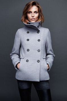 Tailored double-breasted jacket in gray. #WARMINHM
