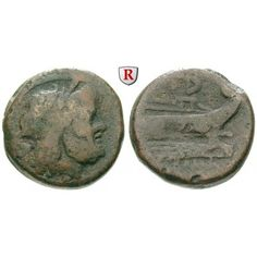 Römische Republik, Anonym, Semis nach 211 v.Chr., s-ss: Anonym nach 211 v.Chr. AE-Semis 25 mm nach 211 v.Chr. Rom. Kopf des Saturn… #coins