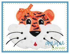 Tiger Face Girl Stripes Applique Design