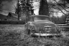 Dodge Among the Patties in Chilliwack, British Columbia - Black & White