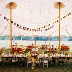 A Vibrant Fiesta Wedding Video by Jen FarielloPhotography Circus Wedding, Wedding Bunting, Wedding Bells, Our Wedding, Perfect Wedding, Tent Reception, Wedding Reception, Wedding Website, Event Venues