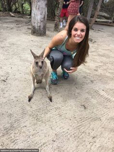 Jaclyn Campanella hanging out with some adorable kangaroos down under. Photo by Jaclyn Campanella. #UDAbroad