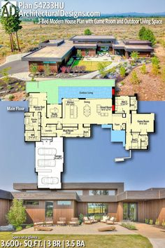 Plan Modern House Plan with Game Room and Outdoor Living Space Shorten mud room. Add butlers pantry parallel to kitchen. Switch media room and Best House Plans, Dream House Plans, Modern House Plans, House Floor Plans, House Blueprints, Craftsman House Plans, Architecture Design, Contemporary Architecture, Contemporary Home Plans