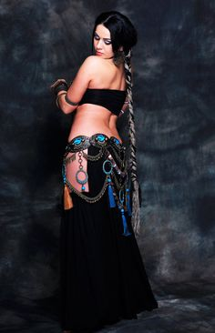 Diana Bastet Tribal Fusion Dark Fusion Ethnic Tribal Belly Dance Belt & Necklace