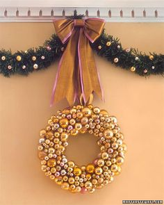 This wreath can be made with any color of glass ornaments, but the unexpected color combination of pink and gold makes this really special.