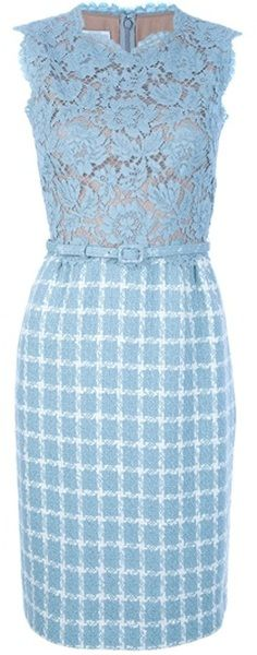 Valentino Lace and Check Sleeveless Dress in Blue - Lyst......#softblue #sundaybest #officewear