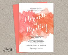 DIY Coral Watercolor Engagement Party Invitation, Printable Peach Ombre Watercolour Engagement Shower Invitations, Summer Wedding Invites by iDesignStationery on Etsy https://www.etsy.com/listing/229786414/diy-coral-watercolor-engagement-party