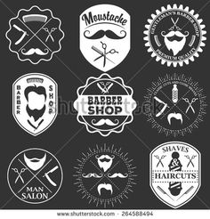 Set of vintage barber shop logo templates, labels and badges made in vector. Haircuts logotypes, moustache icons and design elements isolated on white background. Monochrome style: compre este vector en Shutterstock y encuentre otras imágenes. Gentleman Barber Shop, Barber Man, Barber Logo, Logan, Beard Logo, Vintage Hipster, Monochrome Fashion, Vintage Tools, Shop Logo