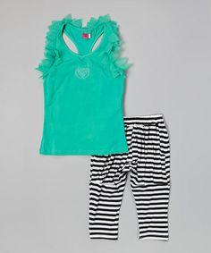 Green Ruffle Tank & Stripe Harem Pants - Girls #zulily #zulilyfinds