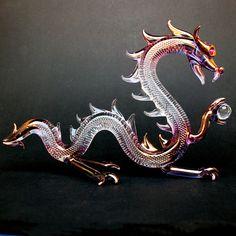 Hand Blown Glass Dragon Crystal Serpent