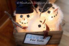 Bliss Ranch: Glass Globe Snowmen
