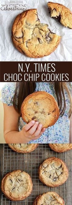 Gluten_Free New York Times Chocolate Chip Cookies - taste exactly like the famous crispy-outside-chewy-inside cookies published (in gluten-containing form, of course) by the New York Times in glutenfreeonashoestring Gluten Free Sweets, Gluten Free Cookies, Gluten Free Baking, Gluten Free Chocolate Chip Cookies, Chocolate Chips, Vegan Chocolate, Chocolate Desserts, Gf Recipes, Gluten Free Recipes