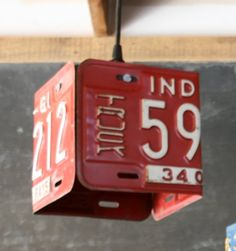 Vintage Red License Plate Pendant Lamp by HindsStudio on Etsy, $95.00