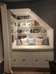 Home Library Rooms, Home Libraries, House Rooms, Bedroom Nook, Room Ideas Bedroom, Room Decor, Home Room Design, Dream Home Design, Home Interior Design