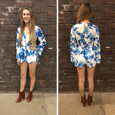 YES! Romper season is almost among us! This blue floral romper is perfect for Spring! - $51 #springfashion #spring  #fashionista #shoplocal #aldm #apricotlaneboutique #apricotlanedesmoines #shopaldm #desmoines #valleywestmall #fashion #apricotlane #newarrival  #shopalb  #ootd #westdesmoines  #shopapricotlaneboutiquedesmoines #ontrend