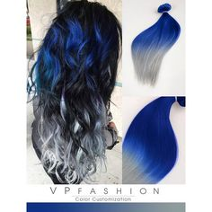 Blue and Silver Ombre Colorful Indian Remy Clip in Hair Extensions... ❤ liked on Polyvore