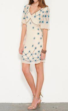 Temperley London Cream, Sky Blue, Brown, And Multicolor Dress | VAUNTE