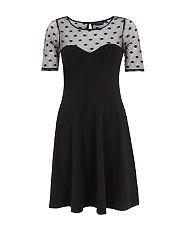 Black (Black) Black Polka Dot Mesh Contrast Skater Dress | 307280401 | New Look