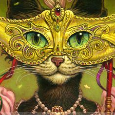 Mardi Gras Cat Painting// Cat print // Black Cat by JeffHaynieArt