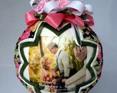 A personalized quilted ornament for an engaged couple.