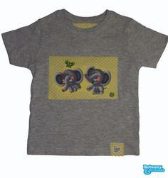 Cotton's grey t-shirt with 2 fabrics applications with 2 lovables elephants/T-shirt com a aplicação de 2 tecidos e 2 simpáticos elefantes by BebuzzyandFriends on Etsy, €15.00
