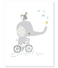 Affiche éléphant sur son vélo