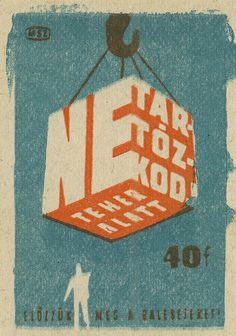vintage hungarian matchbox label