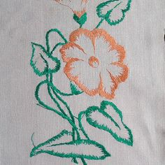 Vintage embroidery 1980s handworked embroidery satin by MyWealth