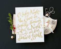 O Holy Night Print, Gold Foil