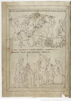 """""""Dernière partie de cet ouvrage"""", 1175-1200. Nice details in that french manuscript of the end of the 12th century, i specially like the small axe in the belt."""