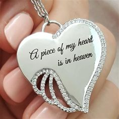 Trendy A piece of my heart is in heaven Angel Wing Necklace Heart Shape Pendant I Miss My Daughter, Miss My Mom, Heart Charm, My Heart, Parts Of The Heart, Angel Wing Necklace, Angels In Heaven, Heavenly Angels, Angel In Heaven Quotes