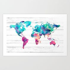 Wanderlust vintage world map art print art print by kokua design buy world map watercolor paint on white wood art print by mapmaker worldwide shipping available gumiabroncs Image collections