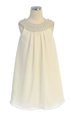 Flower Girl Dresses #SK384N : Simple Chiffon Dress w/ Beaded Neckline Girl Dress.... also comes in Navy