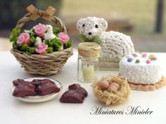 Miniature Dollhouse Easter Decoration Set by Minicler on Etsy