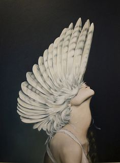 These wonderfully peaceful images naturally blend feminine forms with the elegant wings of various birds. Created by London-based artist Amy Judd, each oil