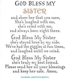 Prayer For My Sister Quotes Magnificent God Bless My Sister Prayer Cardabbey Press  Family  Friends