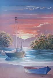 easy acrylic painting ideas for beginners on canvas Watercolor Landscape, Landscape Art, Landscape Paintings, Watercolor Art, Boat Painting, Painting & Drawing, Pictures To Paint, Art Pictures, Beautiful Paintings